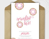 Baby Shower Invitations - Baby Shower - Baby Girl - Donut Baby Shower Invite - Baby Sprinkle Invitations - Printable - Personalized - 5x7