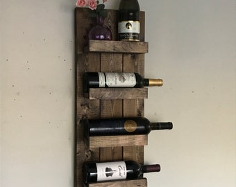Rustic Wine Rack, Spice Rack, Wall Mounted Wine Bottle Holder & Display Shelf Vertical