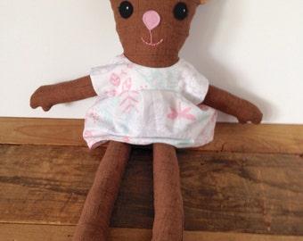 handmade cloth doll, cloth doll, rag doll, woodland creature doll, deer doll, fawn doll, woodland nursery