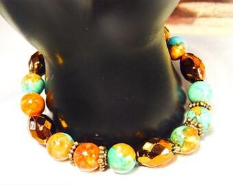 SOUTHWEST BRACELET, southwest colors, southwest jewelry, southwest bolor bead, copper spacers, copper beads, casual bracelet - 1558