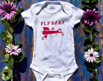 Fly Baby Onesie, Girl Airplane Onesie