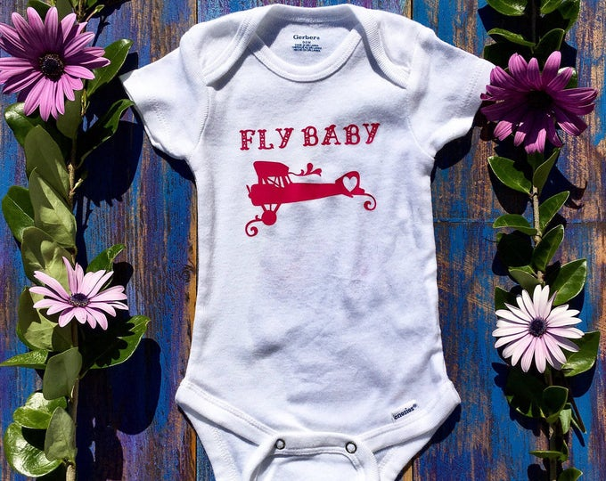 Fly Baby Onesie, Girl Airplane Onesie
