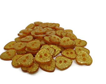20 heart buttons, gold heart buttons, glitter buttons, sparkly buttons, gold colour buttons, sewing buttons, sewing supplies, uk buttons