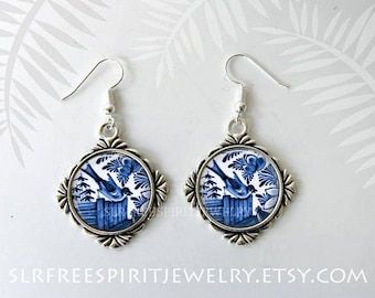 Delftware, Delftware Blue Bird Earrings, Antique Dishes, Blue and White, Delft Necklace, Vintage Delftware, Silver Jewerly Glass jewelry