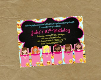 Emoji Sleepover Slumber Party  Birthday Invitation  -Digital or Printed