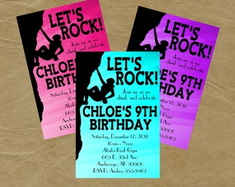 Climbing Invitation Etsy - Birthday party invitations rock climbing