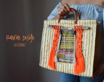Straw bag macrame handwoven ranran design
