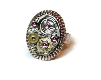 Steampunk Ring, Gears Ring with Pink Accents, Watch Part Ring