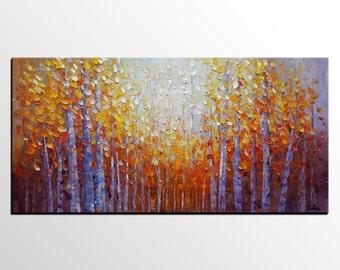 Wall Art, Original Art, Abstract Art, Large Oil Painting, Canvas Art, Canvas Painting, Abstract Painting, Landscape Painting, Birch Tree Art