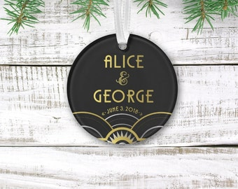 ALICE . Ornament Art Deco Great Gatsby 1920s Gold Silver & Black Holiday Custom Anniversary Gift Keepsake Newlywed . 3 inch Circle