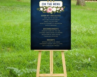 The FRANKIE. Menu Large Printed Sign or PDF . Navy & Gold Chalkboard Blush Pink White Rose Garland . Family Style Buffet . Fork Knife Spoon