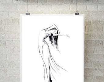 Ballerina art print, minimalist drawing art, ink drawing of ballerina, modern wall art print, ballet art, black and white