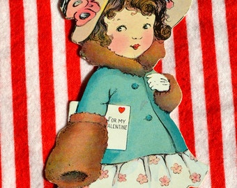 Vintage Valentine Card - Little Girl 1930s Dress - Used