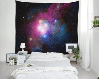 Galaxy Tapestry, Space Tapestry, Cosmos Wall Art, Space Wall Decor, Wall Hanging, Space Art Tapestry, Purple Tapestry, Dorm Tapestry. UL052