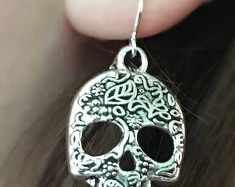 Skull Earrings, Sugar Skull Earrings, Skull Dangle Earrings