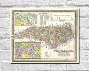 Old North Carolina State and County Map Gold Regions Vintage Reproduction Den Office Wall Art Print