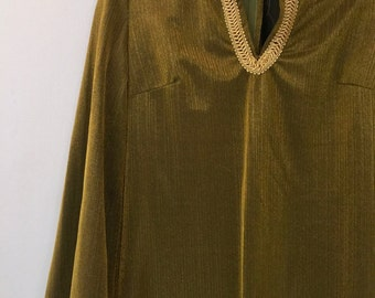 Indian Tunic Womens Gold Metallic Small