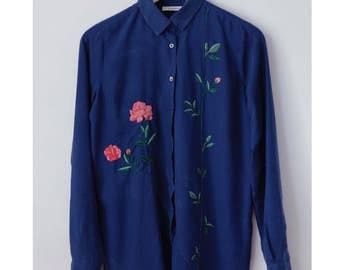 Hand embroidered, Blue ink shirt, Roses embroidery, Floral embroidery, Wearable art, Floral shirt, for girlfriend,Gift for her,One of a kind