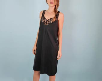 Black Flowing Satin Slip Dress with Lace Trim