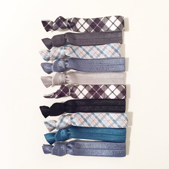 Boyfriend Plaid Hair Tie Set | Plaid Print Creaseless Elastic Hair Ties, Denim Blue, Black + White Plaid, Teal Blue + Charcoal Gray Neutrals