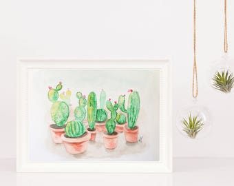 Cactus watercolor Original watercolor painting Nature art Wall art Home decor Original art Floral watercolor