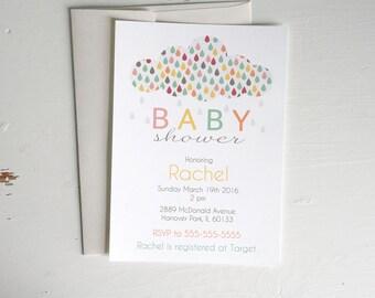 Colorful Rain Cloud Gender Neutral Baby Shower Invitation 5x7 Digital Invitation, DIY Instant Download, Printable & Editable