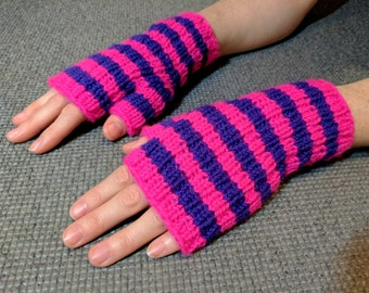 Hand Knit Fingerless Gloves, Cheshire Cat. Pink and Purple Stripe Wool Blend. For Prowling Around & Having Fun. Will Fit Teens, Women, Men