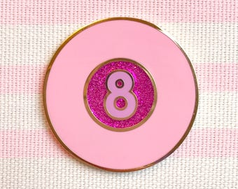 SECONDS/SAMPLE SALE- Hot Pink Glitter Glam Fortune Ball Enamel Pin