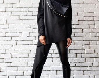 Black Asymmetric Top / Long Sleeve Tunic / Loose Black Shirt / Oversize Tunic with Zippers / Loose Black Top / Black Jacket by METAMORPHOZA