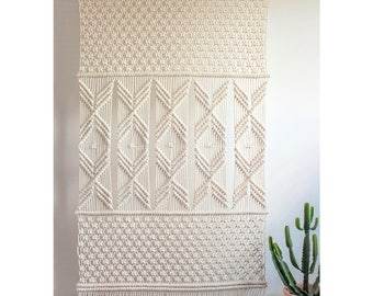 Large Macrame Wall Hanging > AMY > 100% Cotton Cord in Natural Ecru with Bamboo
