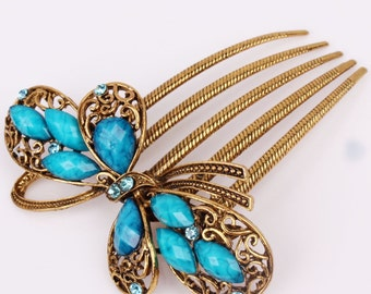 Austrian Crystal Antique Blue & Gold Colored Bow Hair Comb Pin Christmas, Bridesmaid Gift #A251