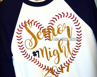 Senior Night Baseball Mom. 2018|2019|w/player #|3/4 sleeve Raglan T-shirt