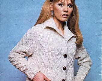"""womens aran jacket knitting pattern pdf download ladies cable cardigan with collar vintage 60s 36-42"""" aran worsted 10ply instant download"""