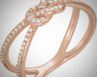 Romantic 14K Rose Gold & 1/5 CTW Genuine Diamond Knot Wedding Ring Band Sz 7