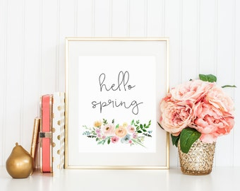 Printable wall art Hello Spring Watercolor Floral Print Decor Spring Decorations Spring Art Easter Printable Flowers handwritten quote art