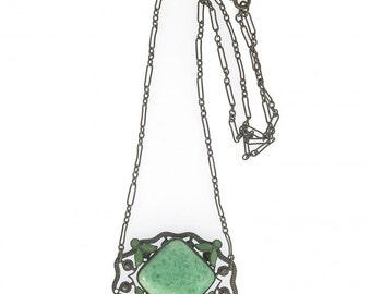 Antique Green glass and enamel pendant necklace. nlbg2131(e)
