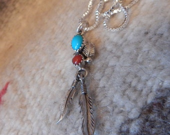 Native American Jewelry, Cherokee Jewelry, sterling, turquoise necklace,  coral southwest jewelry,  womens jewelry, vintage southwest