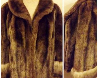 60s Vintage Regina Glenara Brown Faux Fox Fur Coat Size M