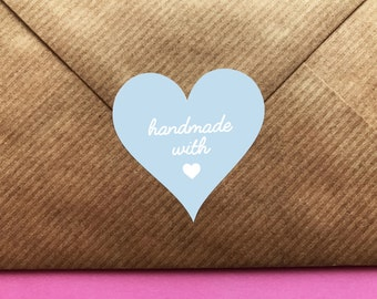 Made With Love, Heart Stickers, Handmade With Love Stickers,  Handmade Labels, Wedding Stickers, Wedding Favor Labels, Blue Favour Stickers