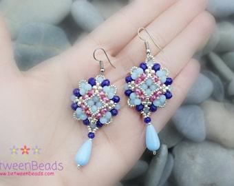 Blue Long Earrings, Dark Blue and Silver Colored Beads, Dangle Earrings, Beaded, Silver Plated Jewelry, Wedding Earrings, Drop Earring Gifts