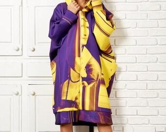 Maxi Jacket, Womens Poncho, Jacket Cardigan, Hooded Cape Coat, Printed Jacket, Long Jacket Coat, Evening Jacket, Boho Poncho, Yellow Coat
