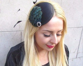 Black Turquoise Blue Green Statement Feather Fascinator Hair Clip Hat Races 2440