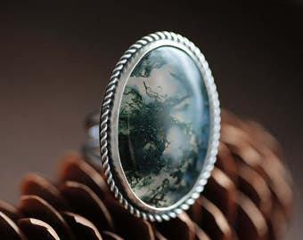 mossflower ring (size 6) - natural moss agate gemstone ring. oxidized sterling silver jewelry.  twist accent. forest nature woods jewelry