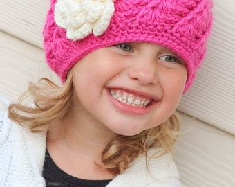 Crochet Hat for Girls Newborn Baby Toddler Child Flower Pink Beanie