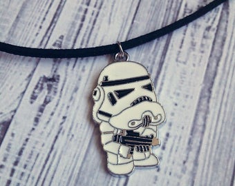 "Storm Trooper Charm Choker Necklace (Star Wars) 15"" - Choose Your Own Color"