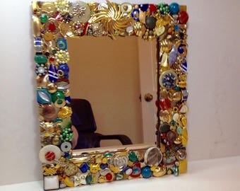 Mirror With Jeweled Frame, Embellished Mirror, Gold Mirror, Vintage Mirror, Mirror with Vintage Jewelry Frame, Small Mirror, Mirror