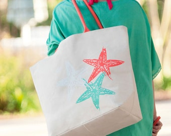 Starfish Tote Canvas Beach Tote Starfish Monogrammed Bag Overnight Bag Travel Bag Bridesmaids Gifts Weddings Personalized Highway12Designs