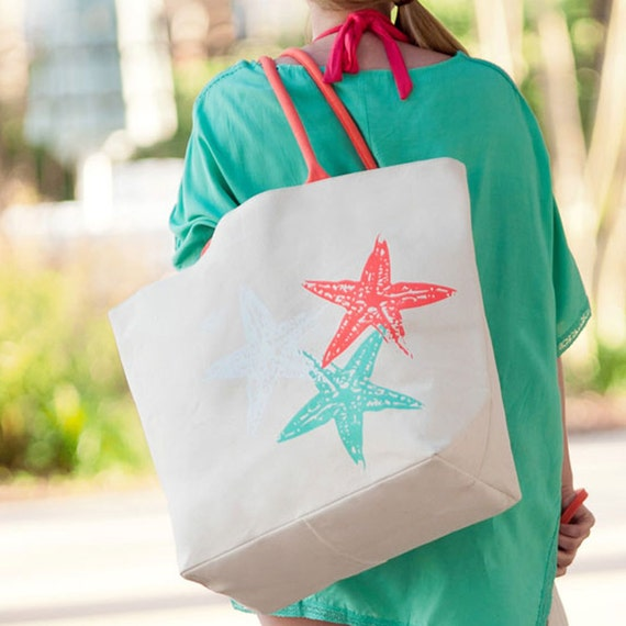 CLOSEOUT SALE Starfish Tote Canvas Beach Tote Travel Bag Bridesmaids Gifts Weddings Personalized Highway12Designs