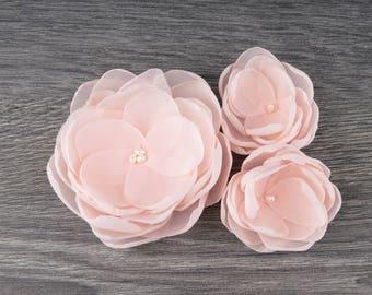 Blush Pink Wedding - Blush Hair Clip - Blush Hair Flower - Blush Bridesmaids - Blush Flower Girls - Pink Hair Clip - Blush Flower Brooch