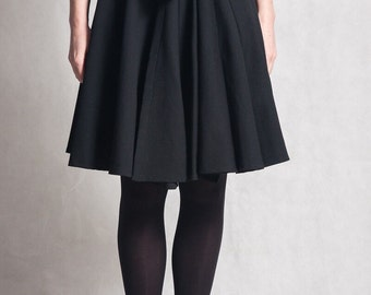 High waist woman's skirt / Wrap black skirt / Leather belt black skirt / Knee length elegant skirt / Fasada 1571